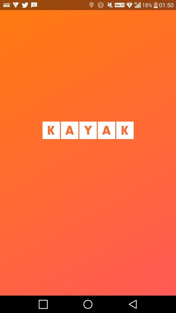 kayak home screen
