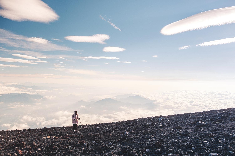 Girl at the top of Mt Fuji