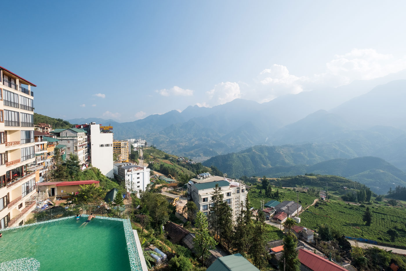 Bamboo Sapa Hotel pool with mountain view